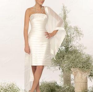 White Party / Bridal Satin Pleaded Corset Dress with Palantin